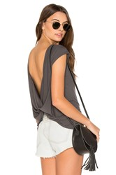 Rvca Label Cowl Back Tee Charcoal