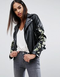 Missguided Embroidered Floral Leather Look Biker Jacket Black