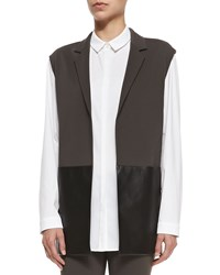 Lafayette 148 New York Faux Leather Panel Vest Granite