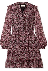 Michael Michael Kors Ruffled Tiered Floral Print Chiffon Mini Dress Pink