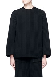 Ms Min Oversized Chunky Wool Ribbed Top Black