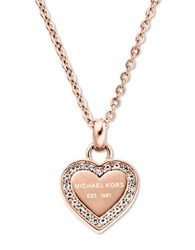 Michael Kors Rose Goldtone And Glitz Heart Pendant Necklace