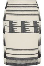 J.Crew Collection Lianos Printed Cotton Blend Canvas Skirt White