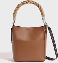 Allsaints Harri Leather Small North South Tote Bag Chocolate Brown