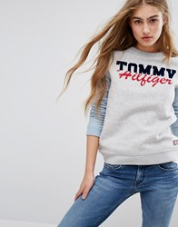 Tommy Hilfiger Logo Sweatshirt With Contrast Sleeves Light Grey Heather