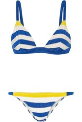 Solid And Striped The Morgan Stretch Terry Triangle Bikini Bright Blue