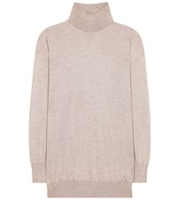 Tom Ford Cashmere And Silk Turtleneck Sweater Beige