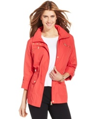 Style And Co. Sport Zip Pocket Hooded Anorak Dark Rose