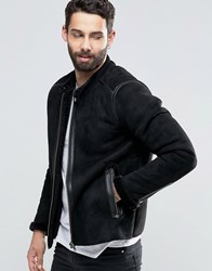 Pretty Green Biker In Faux Shearling Slim Fit In Black Black