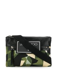 Jimmy Choo Kimi Camouflage Messenger Bag Green