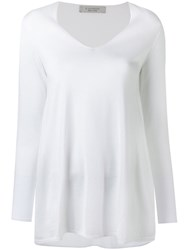 D.Exterior V Neck Longsleeved T Shirt Women Cotton Viscose S White