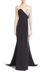 Pamella Roland Women's Embellished Strapless Crepe Gown With Draped Back