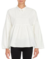 Vero Moda Long Sleeve Empire Waist Collared Shirt Snow White