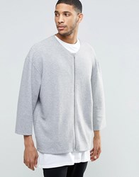 Asos Oversized Collarless Bomber With 3 4 Sleeves Grey Marl