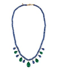 Splendid Company Blue Sapphire Rondelle And Emerald Briolette Necklace