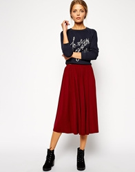 Asos Full Midi Skirt Burgundy