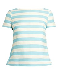 Red Valentino Striped Cotton Blend Twill Top Blue White