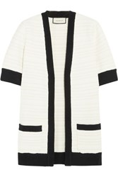Gucci Ribbed Knit Trimmed Tweed Cardigan Ivory
