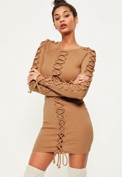 Missguided Camel Lace Up Detail Ribbed Bodycon Dress