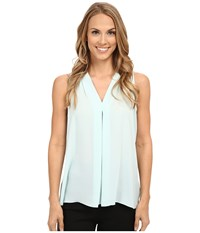 Vince Camuto Sleeveless V Blouse W Inverted Front Pleat Aqua Shade Women's Blouse Blue