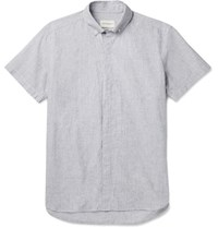Oliver Spencer Aston Button Down Collar Cotton And Linen Blend Shirt Gray