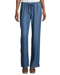 Chelsea And Theodore Wide Leg Pull On Chambray Pants Blue
