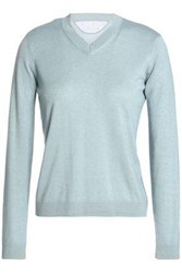 Red Valentino Point D'esprit Trimmed Cashmere And Silk Blend Sweater Sky Blue
