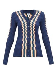 Loewe Checked Cotton Cardigan Blue Multi