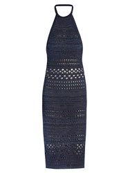 Balmain Halterneck Crochet Midi Dress Blue