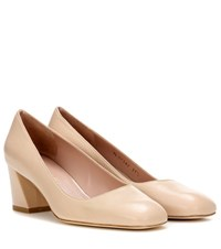 Stuart Weitzman Marymid Fore Icon Leather Pumps Beige