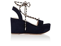 Gianvito Rossi Women's Ankle Tie Suede Platform Wedge Sandals Navy