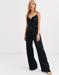 Lipsy Satin Cowl Front Jumpsuit In Black