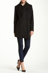 Rachel Roy Wool Blend Drape Front Coat Black