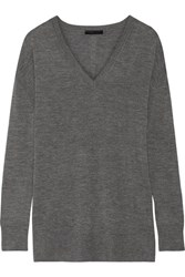 The Row Amherst Cashmere And Silk Blend Sweater Anthracite