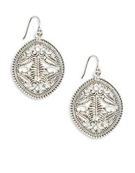 Lucky Brand Tropical Turquoise Openwork Drop Earrings Silver