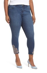 Wit And Wisdom Plus Size Embroidered High Waist Ankle Skimmer Jeans Blue