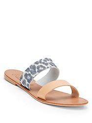 Joie A La Plage Sabel Leopard Print Leather Sandals Sky Natural
