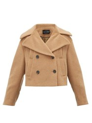 Proenza Schouler Double Breasted Felted Cropped Pea Coat Camel