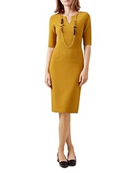 Hobbs London Eimear Ribbed Dress Gold Yellow