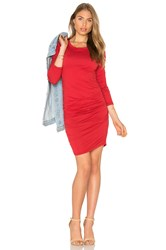 Velvet By Graham And Spencer Yurel Long Sleeve Crew Neck Mini Dress Red