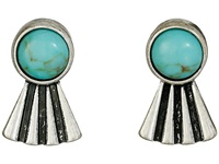 Lucky Brand Turquoise Feather Stud Earrings Silver Earring