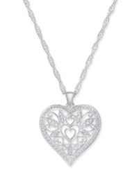 Giani Bernini Filigree Heart Pendant Necklace In Sterling Silver 18 2 Extender Created For Macy's