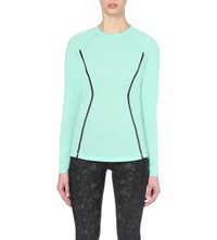 Sweaty Betty Heart Rate Wool Blend Run Top Verde Green Marl