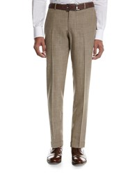 Isaia Sanita Melange Linen Look Cotton Trousers Tan