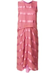Sies Marjan Satin Stripe Sleeveless Midi Dress Pink And Purple