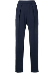 Sportmax High Rise Tapered Trousers Blue