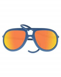 Alero Drop Universal Fit Rubber Aviator Sunglasses Blue Orange