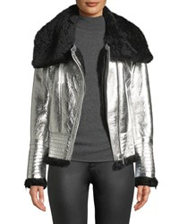 Nour Hammour Metallic Lamb Leather Shearling Coat Black Silver