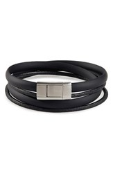 Ted Baker London Mera Leather And Rubber Wrap Bracelet Black