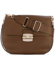 Furla Foldover Grained Crossbody Bag Women Leather One Size Brown